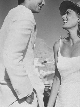 """Melina Mercouri and Tony Perkins in Greece to Make Movie """"S.S. Phaedra"""""""