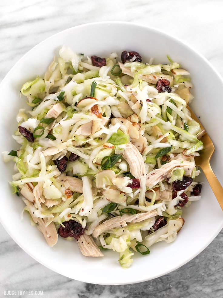 This Chicken and Cranberry Salad combines tender cabbage, nutty almonds, sweet cranberries and a tart lemon poppy seed dressing, plus enough chicken to make it a meal. BudgetBytes.com
