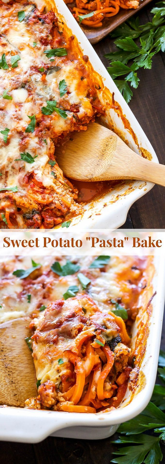 """Sweet Potato """"Pasta"""" Bake   Skip traditional pasta and use spiralized sweet potatoes for a healthier twist on cheesy baked pasta! {gluten free}"""
