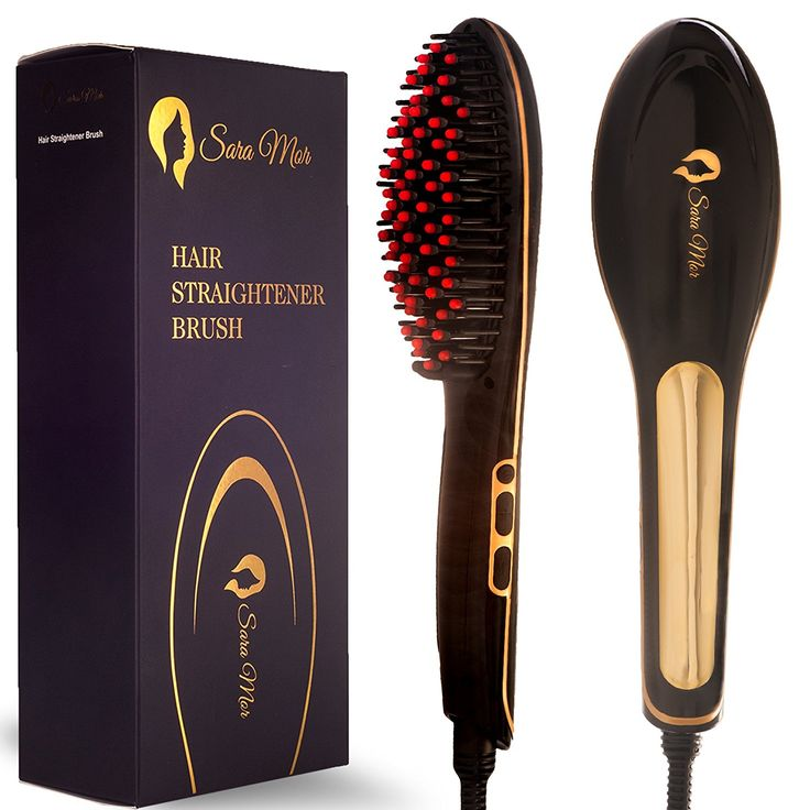 Hair Straightener Brush by Sara Mor: Heated Gold Detangle Brush Infused with Anion, Rapid Heating Ceramic Plates, and Thermal Insulation Tips plus Free Travel Bag, Cleaning Brush, and 2 Hair Clips -- Tried it! Love it! Click the image. : Travel Hair care
