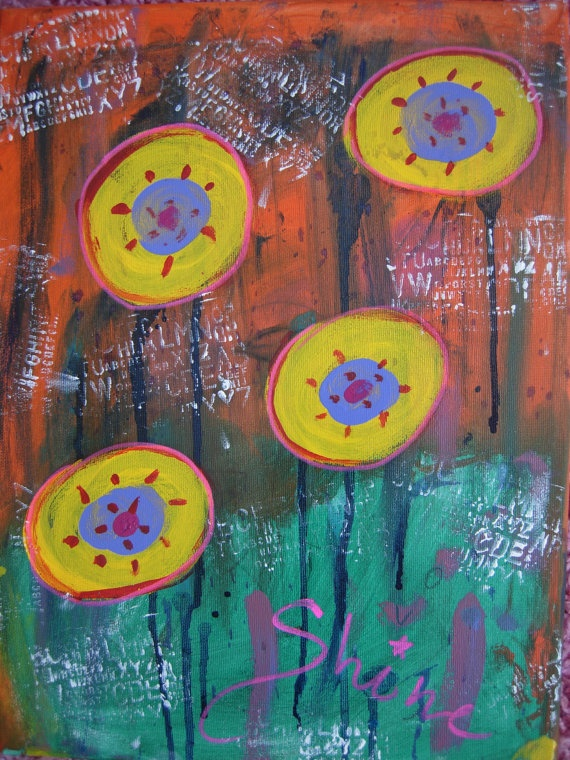 Shine Original mixed media abstracted art painting on by eltsamp, $180.00