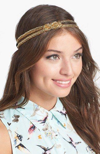 Lulu Golden Beaded Headband (Juniors) available at #Nordstrom