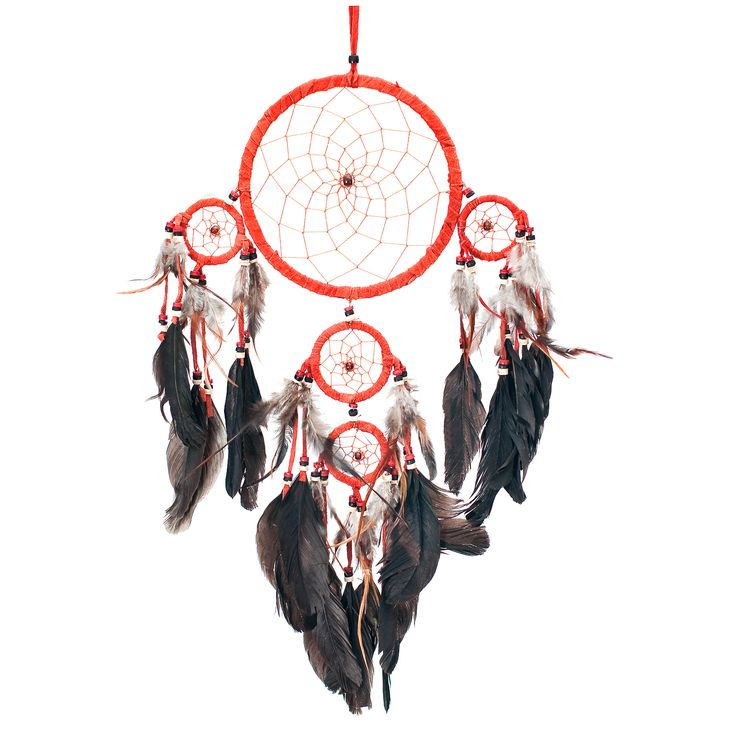 """Dream Catcher ~ Handmade Traditional Genuine Suede Leather Orange & Black 6.5"""" Diameter & 20"""" Long! Native American dream catcher bedroom decor is believed to give its owner good dreams."""