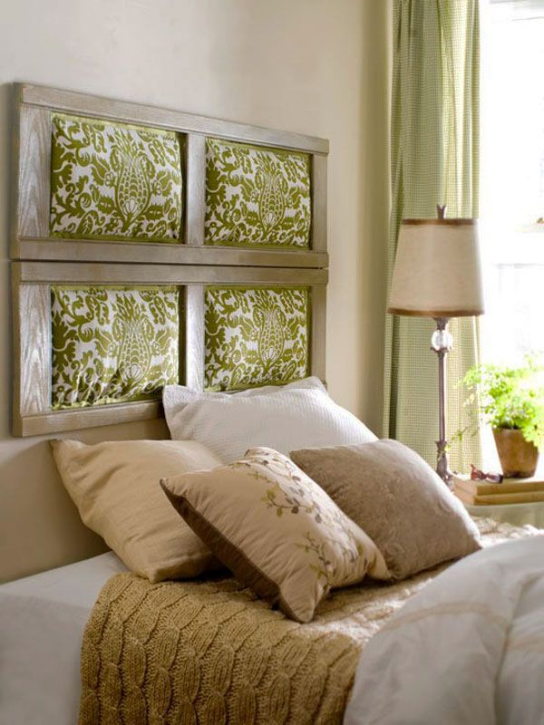 Headboard is made of 4 shutters Fabric
