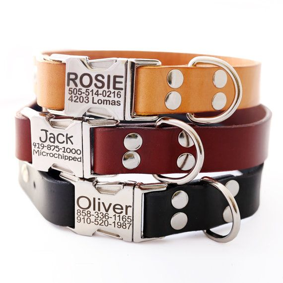 Classic Personalized Leather Dog Collar  -- 3 colors to choose from