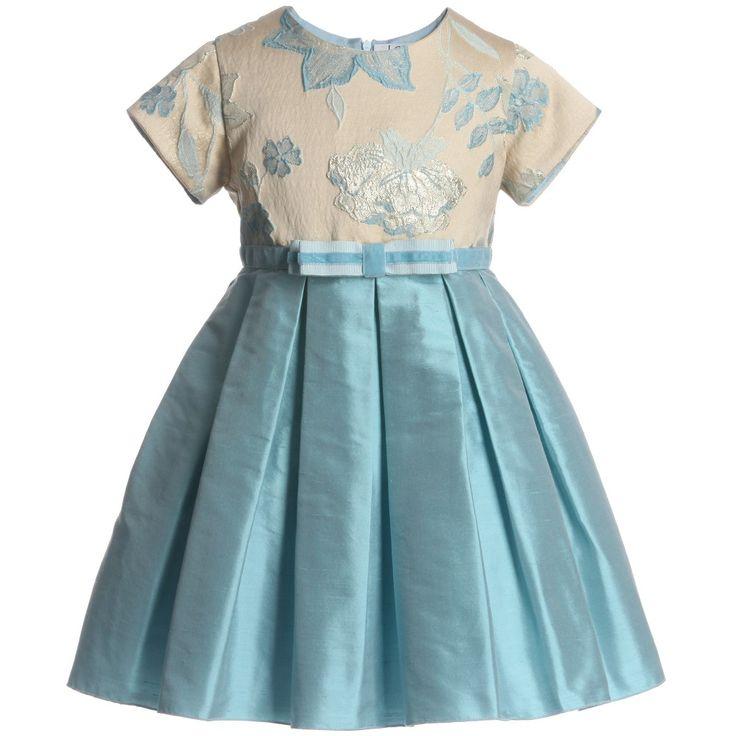LESY-Blue Jacquard Silk Dress