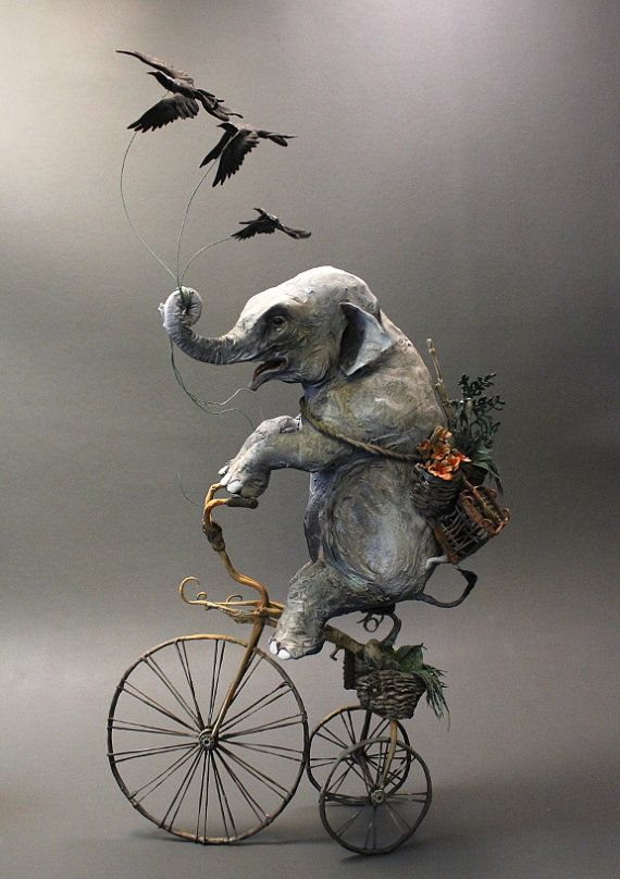Elephant with Crows by creaturesfromel on Etsy, $565.00