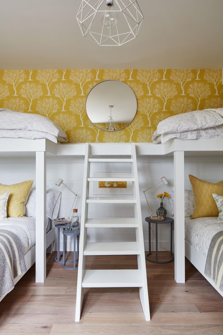 Bunk Beds And Sunny Yellow Hues Make This Kids Room Come Alive