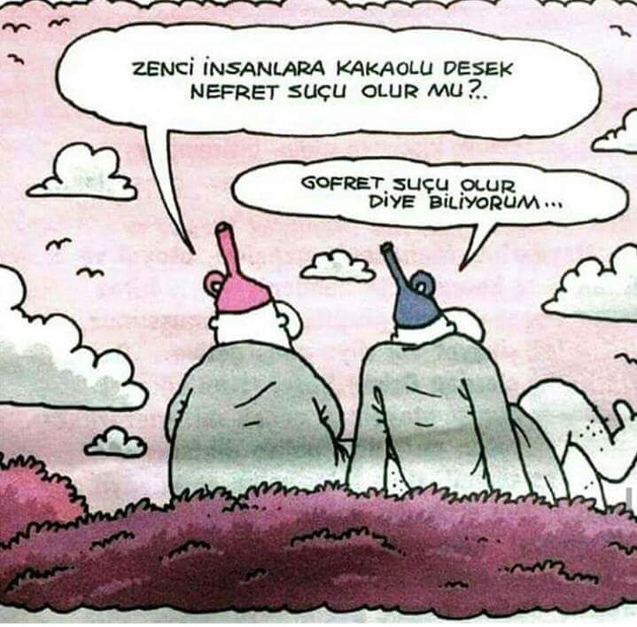- Zenci insanlara kakaolu desek nefret suçu olur mu?..  + Gofret suçu olur diye biliyorum...   #karikatür #mizah #matrak #komik #espri #şaka #gırgır #komiksözler #hunili