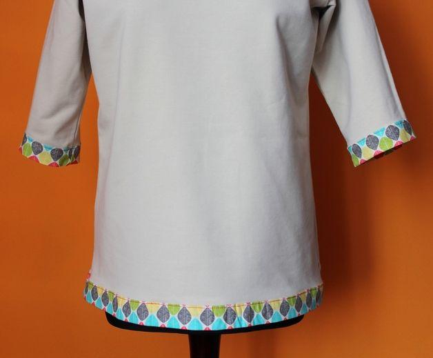 Bluza Beż Obszycia Wzory Kolorowe S-L Nowa - RoomStyle - Bluzy