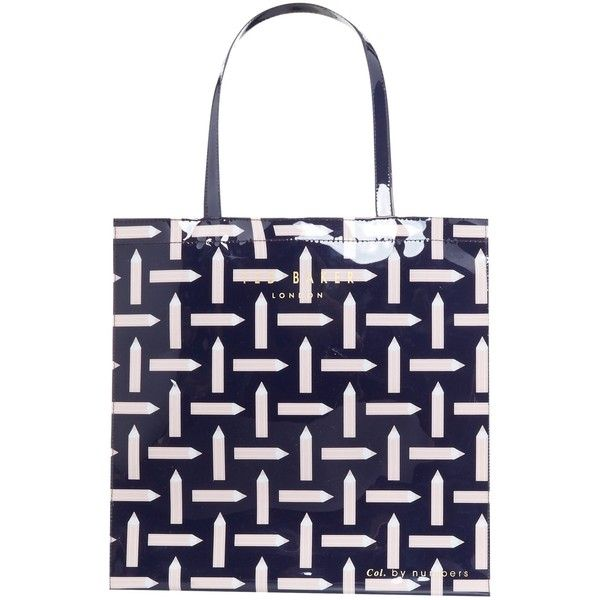 Ted Baker Colour By Numbers Looleey Pencil Print Shopper Bag (110 PLN) ❤ liked on Polyvore featuring bags, handbags, tote bags, ted baker handbags, pattern tote bag, shopping tote bags, blue handbags and hand bags
