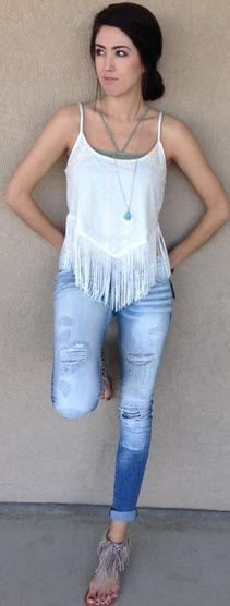 Fringe and embroidery, this top is an outfit maker!