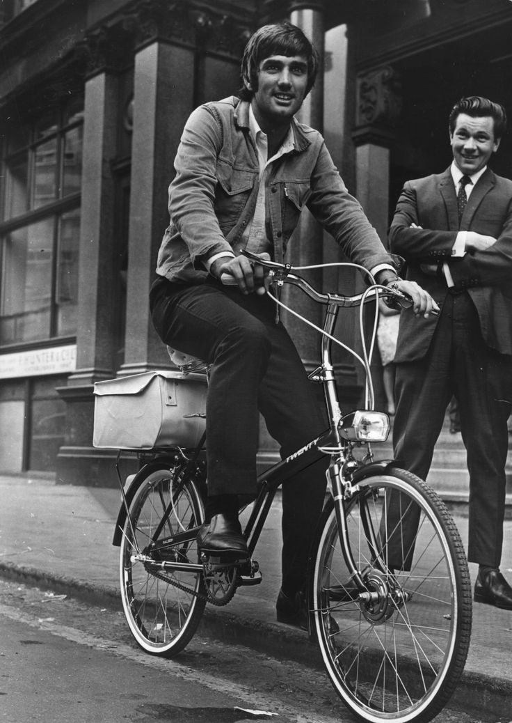 @manutd legend George Best takes a spin around Manchester on two wheels.