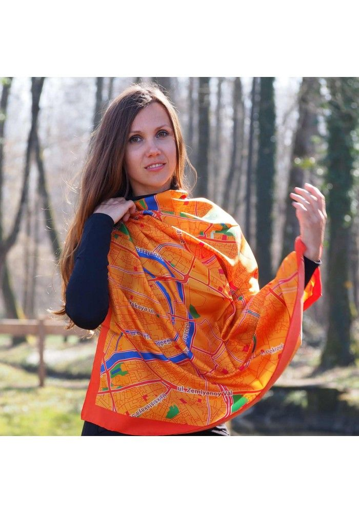 """Designer Silk Scarf - map of Moscow """"Red square"""". Premium quality silk, limited edition, swiss brand"""