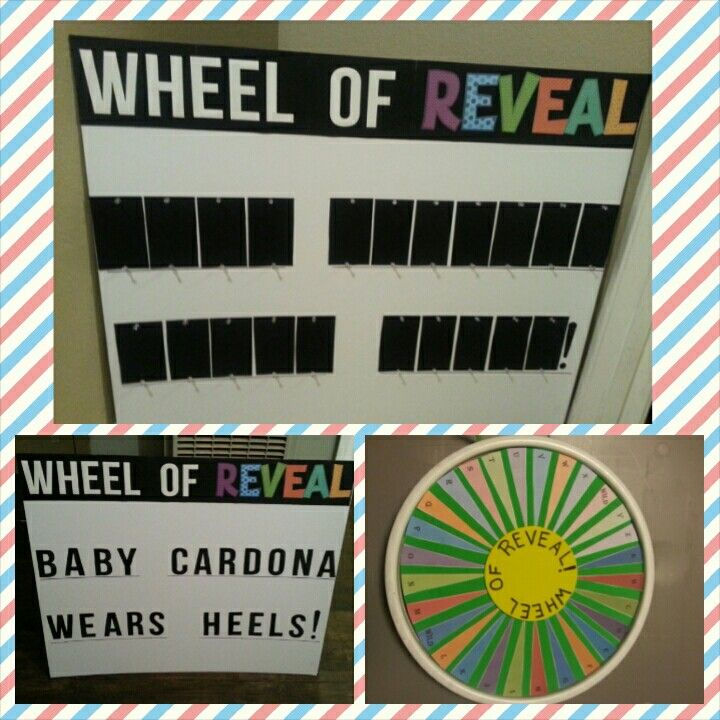 """Unique gender reveal. Wheel of Fortune style. For a """"Wheels or Heels"""" theme. Different idea than the rest and so much fun for everyone!"""