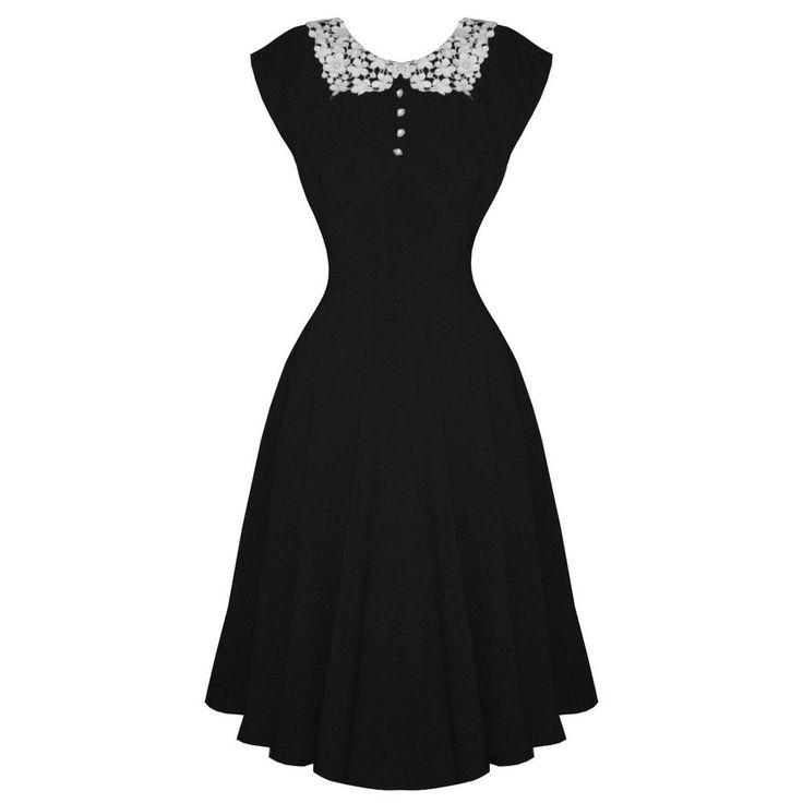 Damen Party Kleid HELL BUMMY EMILIE Schwarz 40er Jahre Stil Teeparty Kleid