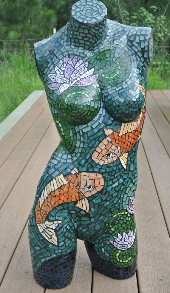 Koi Fish Lady, Mannequin Mosaic by acenal on Etsy