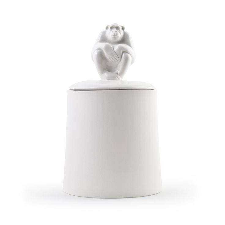 """Container """"Monkey"""" Large A very unique and beautiful porcelain container that will be sure to make people feel cozy. For sugar, tea, coffee or other ingredients in your kitchen.  The white porcelain is handmade with a high quality porcelain and unglazed on the outer that gives it an earthy feel. A quirky gift for those hard to buy for.  Size: 150x95mm"""