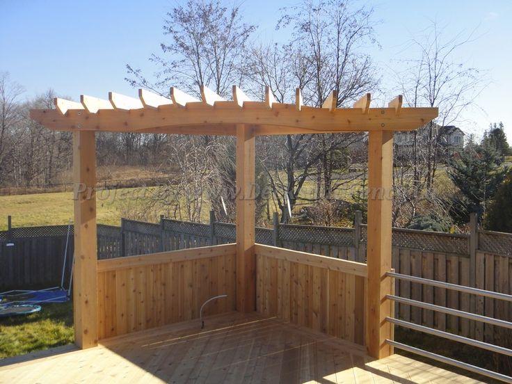 Cedar Deck With Pergola And Metal Railings Toronto Decks
