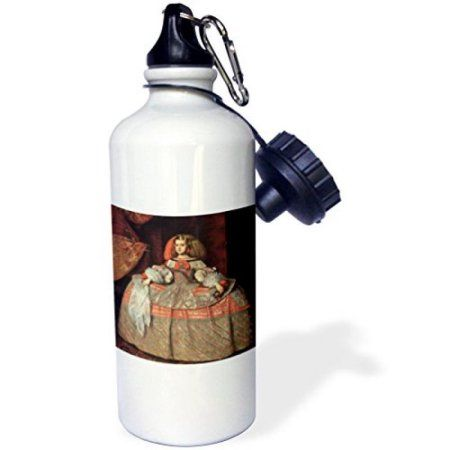 3dRose The Infanta Margarita, c. 1658-60 by Diego Velazquez de Silva, Sports Water Bottle, 21oz, White