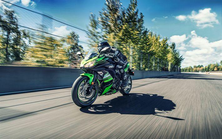 Télécharger fonds d'écran Kawasaki Ninja 650 ABS, route, 2018 de vélos, de mouvement, de superbike, Kawasaki