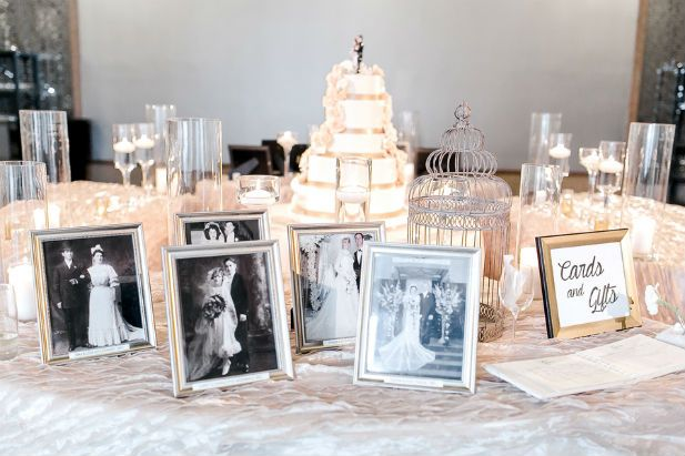 Love the  idea of display vintage family wedding photos at the reception (Photo by Vivian N Photos)