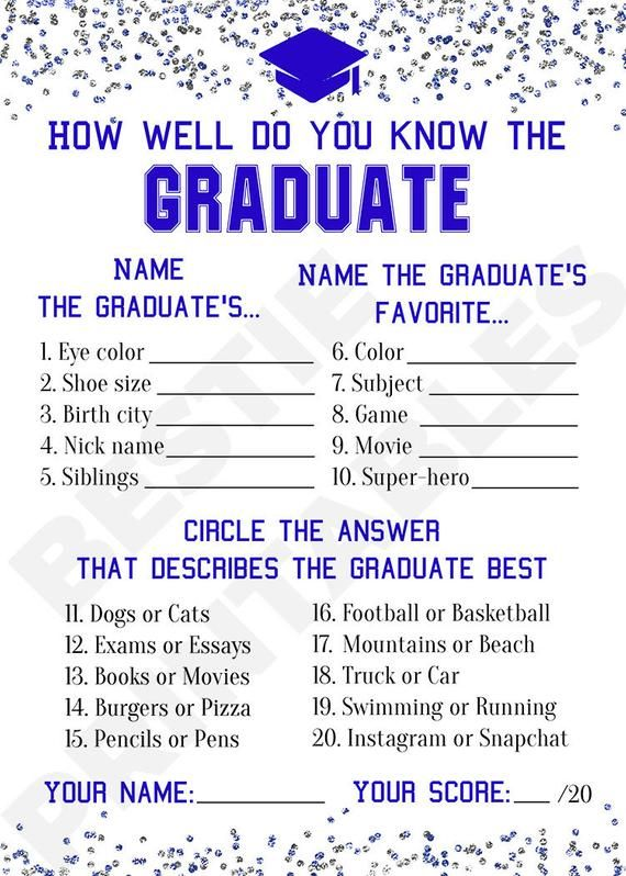 Graduation party game boy Printable graduation game cards How well do you know the graduate Grad par