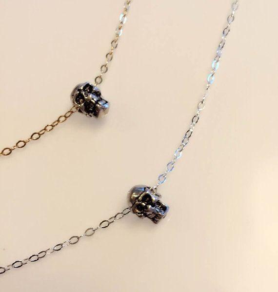 collar de calavera de plata esterlina collar de oro por JoyCarry