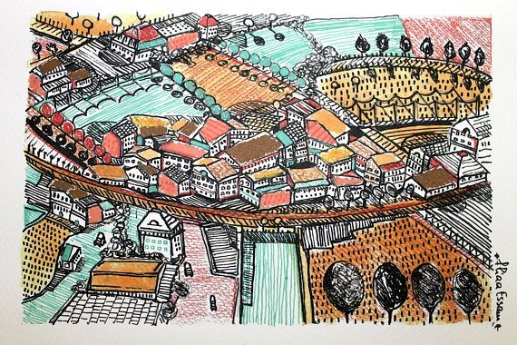 France Village Art Print A Print Of Original Watercolor And Ink Illustration Printed On Watercolor Paper 27cm X 35 Cm 300g M2 10 6in X 13 8in 140 Lb By