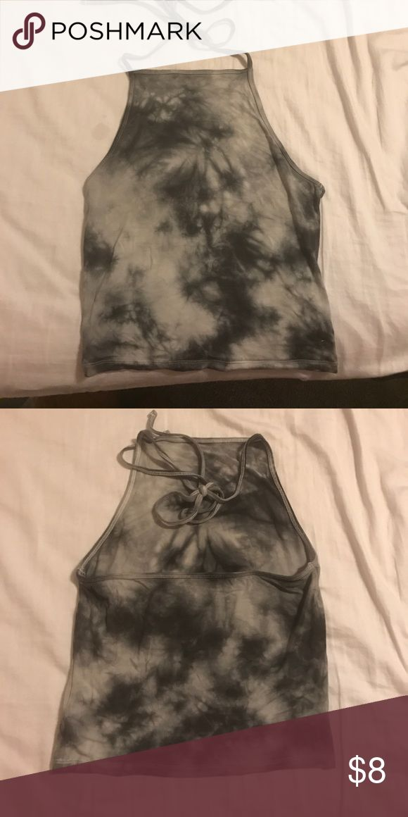 Black and white marble crop top Black and white marble halter crop top with open back Tops Crop Tops