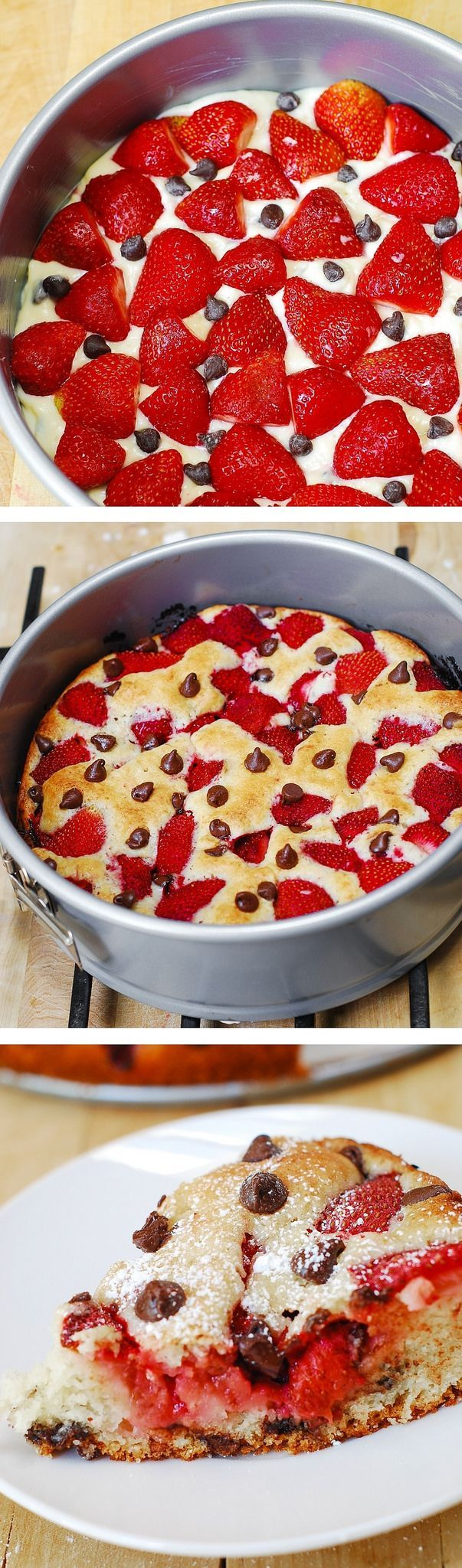 Strawberry chocolate chip cake.. Made this today for Father's Day. Followed the recipe exaclty... YUM