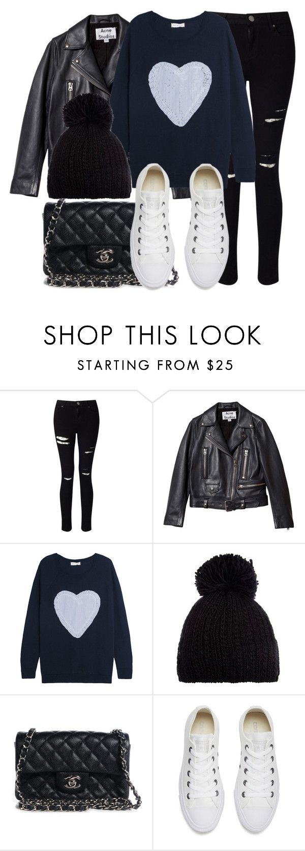 """Untitled #11808"" by vany-alvarado ❤ liked on Polyvore featuring Miss Selfridge, Acne Studios, Chinti and Parker, Barts, Chanel and Converse"