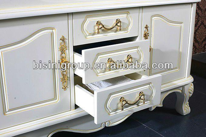 Bisini fransız tarzı aynalı dolaplar, beyaz renk için bâtıla banyo, eski ahşap banyo mobilya dolapları( bf08- 4075)