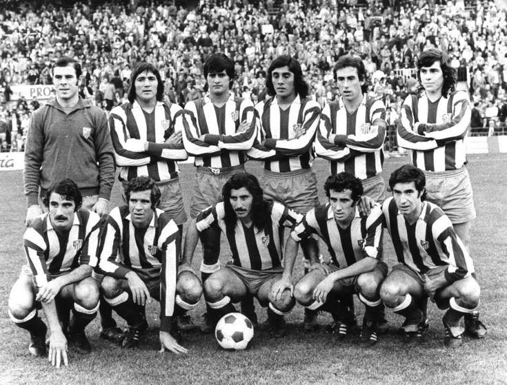Atletico Madrid Line 70s. Above (lr): Reina, Shepherd, Benegas, Heredia, Adelard, Becerra. Agachados (id): Capon Luis Aragonés, Ayala, Javier Irureta and Garate. Luis Aragonés, ex-spaniard trainer, died Feb., 1, 2014