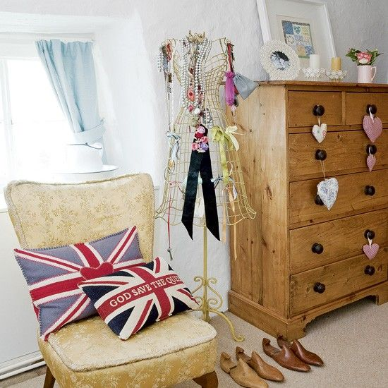Bedroom wardrobe with damask wallpaper | Country bedroom | housetohome.co.uk | Mobile