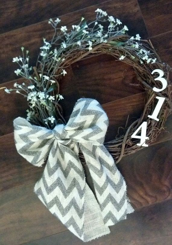 Wooden Vine Personalized Address Number Wreath with Chevron Burlap Bow and White Flowers- Wedding Gifts House Warming Home Decor on Etsy, $35.00