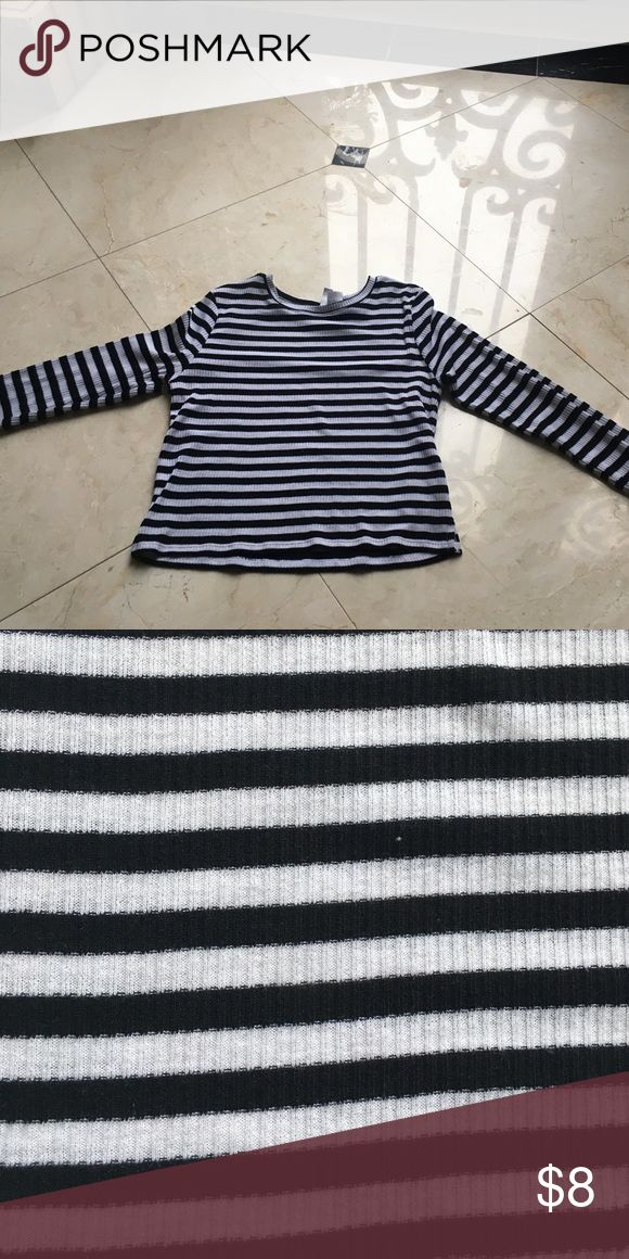 Black and white striped shirt This is a soft and trendy black and white shirt that can be worn with anything!!! H&M Shirts & Tops Tees - Long Sleeve
