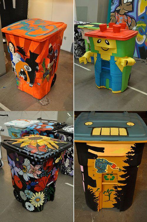 funny painted garbage bins
