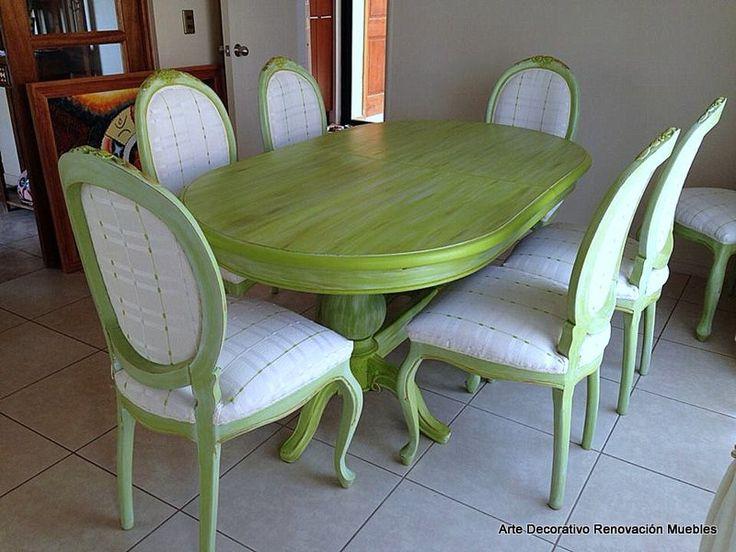 comedor , renovación color, albayalde y mesa decapada.