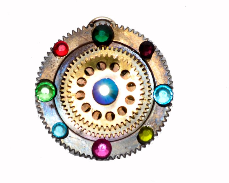 Steampunk Shield Clock Cog / Gears Pendant Necklace with coloured gems. Sent on Black cord necklace. Hand Made in Cornwall, UK. by thelongwayround on Etsy