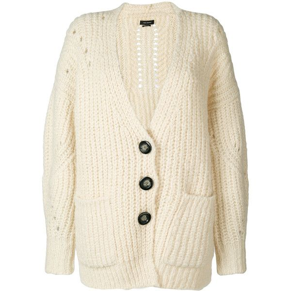 Isabel Marant long knitted cardigan (€560) ❤ liked on Polyvore featuring tops, cardigans, long v neck cardigan, v-neck cardigan, long sleeve tops, long cardigan and ribbed cardigan