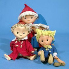 A collection of Sandmännchen dolls, based on the popular television character created by Gerhardt Behrendt, made in various materials including cloth and vinyl versions, made in both East Germany and West Germany, 1959-71, by various makers (including Goebel-Puppe).