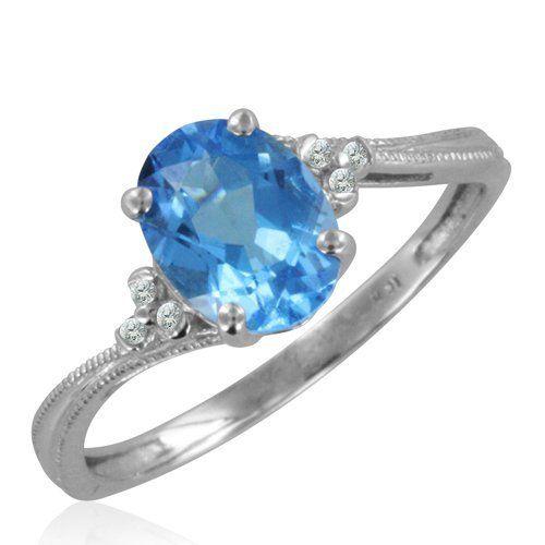 Angara Two Stone Trillion Swiss Blue Topaz Bow Tie Ring neXX24