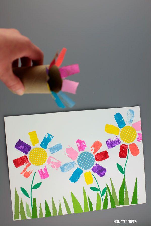 Paper Roll Flower Art For Kids Easy Rainbow Flowers Flower Crafts Art For Kids Flower Art