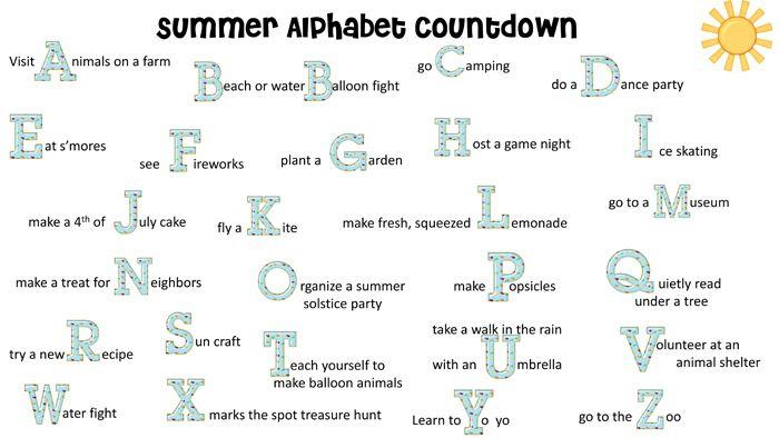 Summer Bucket List; Summer Alphabet Countdown; FREE Printable
