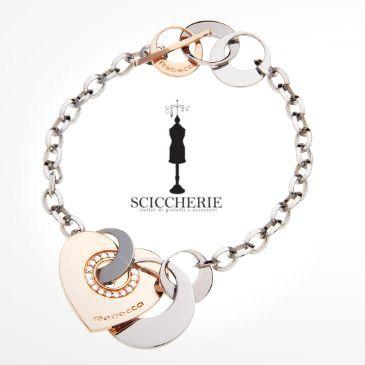 Rebecca Gioielli Collezione San Valentino. Bracciale in acciaio bronzo e pietre.  #sanvalentino #sciccherieoutlet #rebecca
