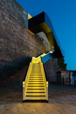 This stunning and modern stair provides access through a historic naval supply yard in Plymouth, UK via dezeen and Gillespie Yunnie Architec...
