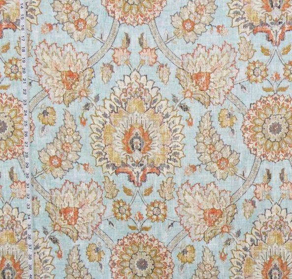 Blue Craftsman rug fabric Persian Arts and Crafts linen pastel orange
