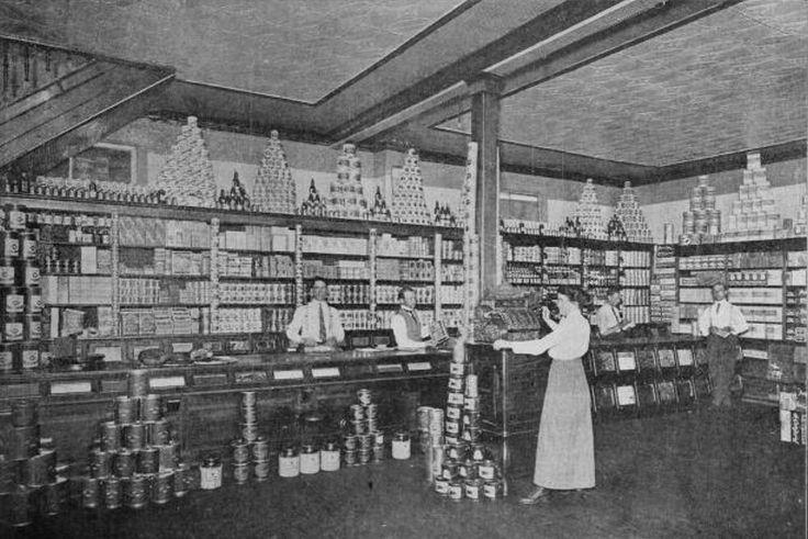 Grocery Department of Hogarth & Clendennan store, Kerrobert, Sask., 1913.