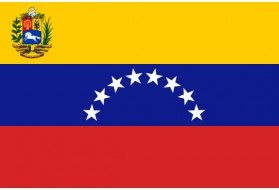 VENEZUELA La Bandera Nacional de Venezuela es el pabellón nacional oficial de dicho país y uno de los tres símbolos patrios, siendo el más representativo a nivel internacional. La bandera tiene una proporción de 2:3 y está constituida por tres franjas horizontales de igual tamaño de colores amarillo, azul y rojo, con un arco de ocho estrellas dentro de la franja azul. Además, en la versión estatal, el Escudo de Armas se ubica a la izquierda de la misma dentro de la franja amarilla